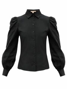 Brock Collection - Puffed-sleeve Taffeta Blouse - Womens - Black