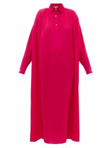Ryan Roche - Pearl-button Silk Shirt Dress - Womens - Red