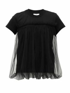Noir Kei Ninomiya - Gathered-tulle Cotton T-shirt - Womens - Black