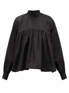Noir Kei Ninomiya - Button-front Gathered Cotton-poplin Blouse - Womens - Black