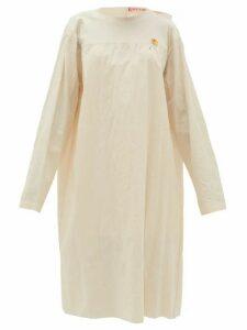 Raf Simons - Tie-back Collarless Cotton-canvas Dress - Womens - Ivory