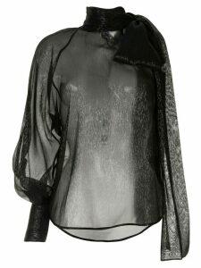 Petar Petrov Bray metallic one sleeve blouse - Black
