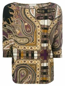 Etro boat neck blouse - Brown