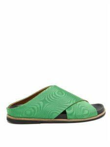 Ganni - Cross-strap Silk-moire Slides - Womens - Green