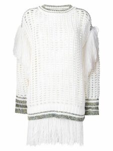 Sonia Rykiel large knit sweater with fringes - White