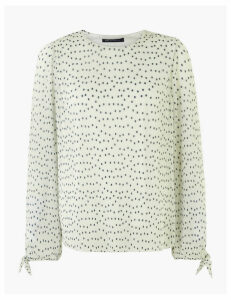 M&S Collection Plisse Polka Dot Tie Sleeve Top