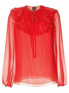 Giambattista Valli sheer ruffle blouse - Red