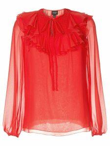 Giambattista Valli sheer ruffle blouse - Red