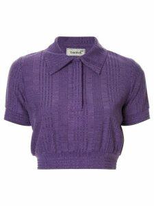 Bambah cropped knit polo shirt - PURPLE