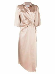 Nanushka Lais draped front satin dress - NEUTRALS