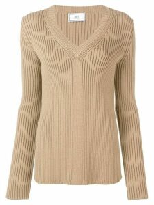 Ami Paris V Collar Rib Sweater - Brown