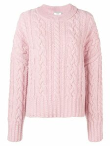 Ami Paris Crew Neck Cable Knit Oversize Sweater - PINK