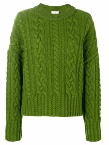 Ami Paris Crew Neck Cable Knit Oversize Sweater - Green