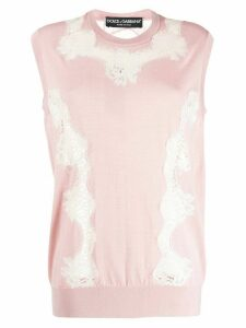 Dolce & Gabbana lace panel sleeveless top - PINK