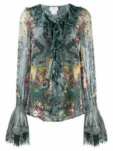 Camilla printed long sleeve blouse - Blue