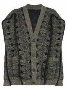 Y/Project oversized geometric-knit cardigan - Grey