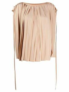 Mm6 Maison Margiela pleated cape blouse - NEUTRALS