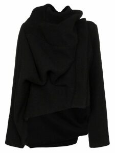 Rick Owens asymmetric draped jacket - Black