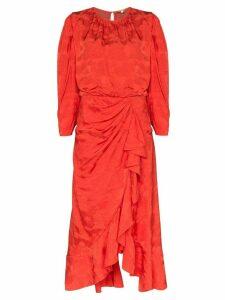 Johanna Ortiz Cuentos Y Relatos ruffled jacquard dress - Red