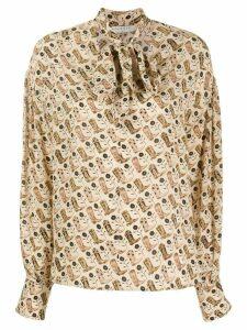 Sandro Paris cowboy boot print shirt - NEUTRALS