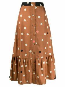 Chinti and Parker polka dot midi skirt - Brown