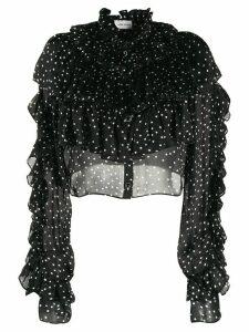 Magda Butrym silk polka dot ruffled blouse - Black