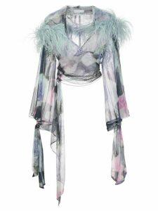 Fantabody marabou feather wrap top - Blue