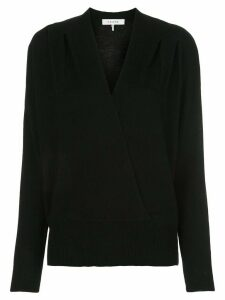 FRAME v-neck knitted draped jumper - Black