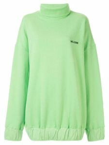We11done oversized mock neck sweatshirt - Green