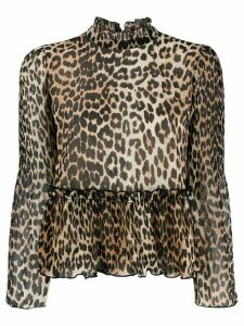 GANNI leopard print ruffled blouse - Brown