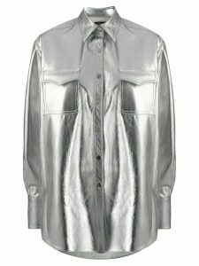David Koma oversized metallic shirt - SILVER