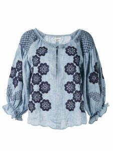 Innika Choo embroidered smock blouse - Blue