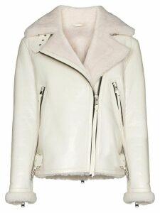 SHOREDITCH SKI CLUB Grace shearling aviator jacket - White