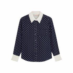 Tory Burch Polka-dot Print Silk Shirt