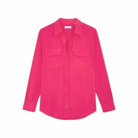 Equipment Slim Signature Hot Pink Silk Shirt