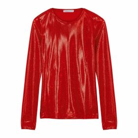 Saks Potts Saya Metallic Red Stretch-jersey Top