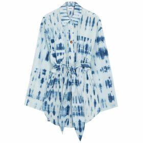 Nanushka Keiko Blue Tie-dyed Cotton Shirt