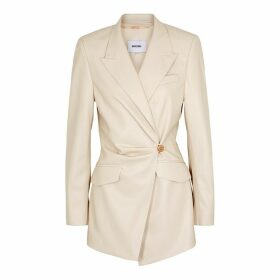 Nanushka Blair Ecru Faux Leather Blazer