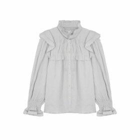 Isabel Marant Étoile Atedy Blue Ruffle-trimmed Linen Shirt