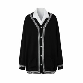 Burberry Wool Cardigan Detail Cotton Shirt