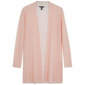 EILEEN FISHER Pink Fine-knit Linen-blend Cardigan