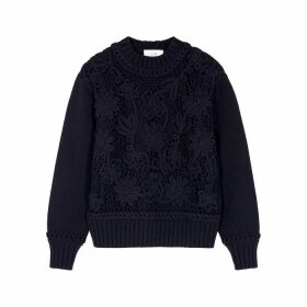Victoria, Victoria Beckham Navy Lace-panelled Cotton Jumper