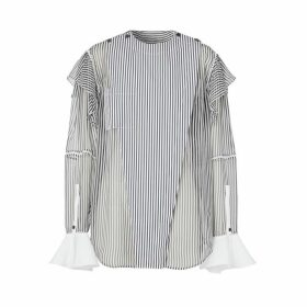 Burberry Ruffle Detail Striped Silk Chiffon Shirt