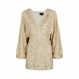 Retrofête Aubrielle Gold Sequin Mini Dress