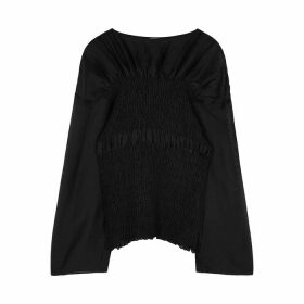 Totême Coripe Black Smocked Linen-blend Blouse