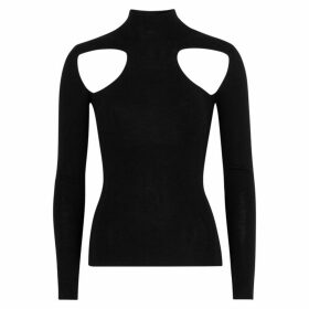 DION LEE Skivvy Black Cut-out Merino Wool Jumper