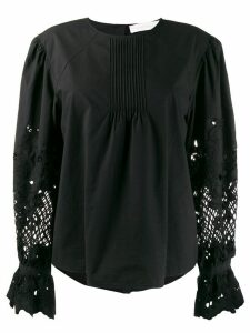 See by Chloé embroidered long-sleeve blouse - Black