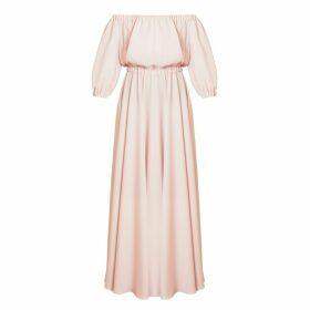 UNDRESS - Gala Pastel Pink Off Shoulder Maxi Evening Dress