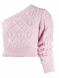 Wandering one shoulder cable knit jumper - PINK