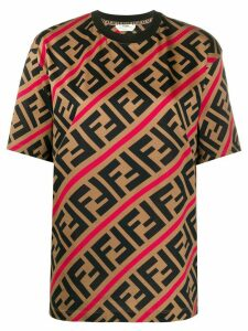Fendi diagonal FF motif print T-shirt - Brown